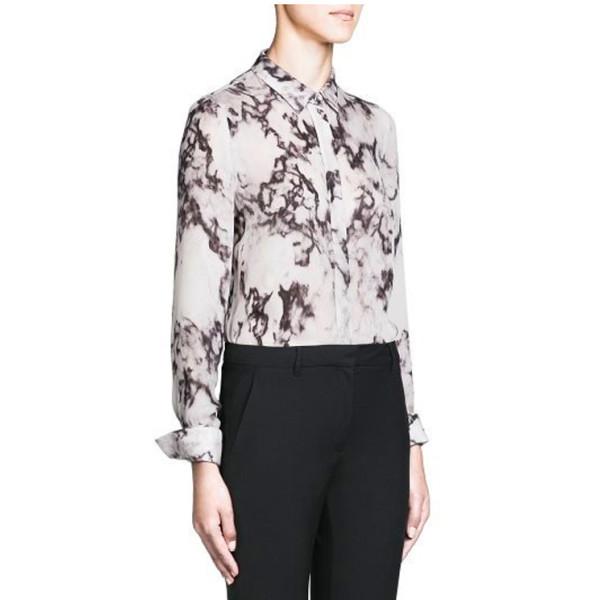 Retro Women Chiffon Long-sleeved Shirt Marble Print Lapel Blouse