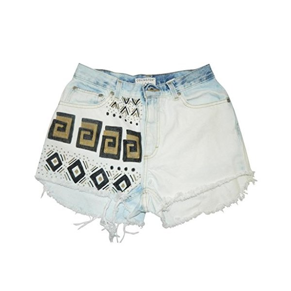 Custom Tribal Gold And Black High Waisted Denim Levi Shorts-L