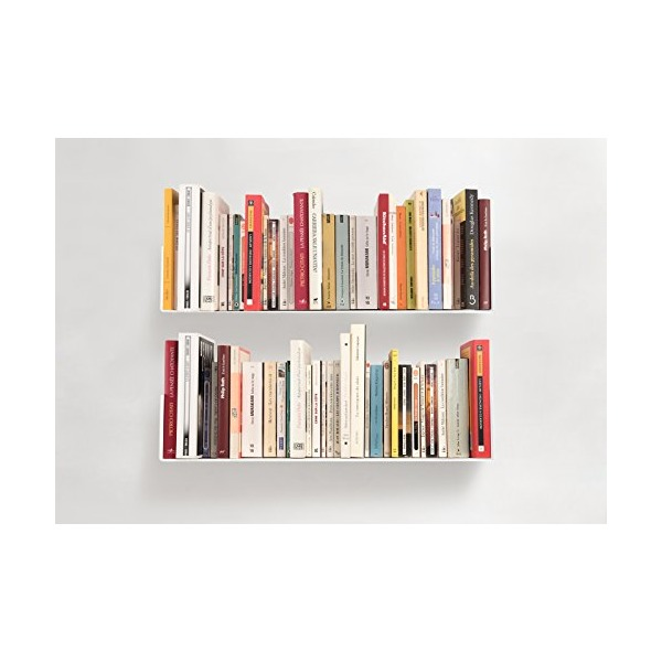 "Bookshelves ""U"" - Set of 2 grey wall shelves - TEEbooks"