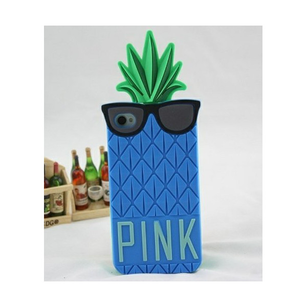Big Mango Superior Quality 3D Cute Pineapple with Black Glasses Design Soft Silicone Gel Protective Case Cover for Apple iPhone 5 5s 5g Dark Blue