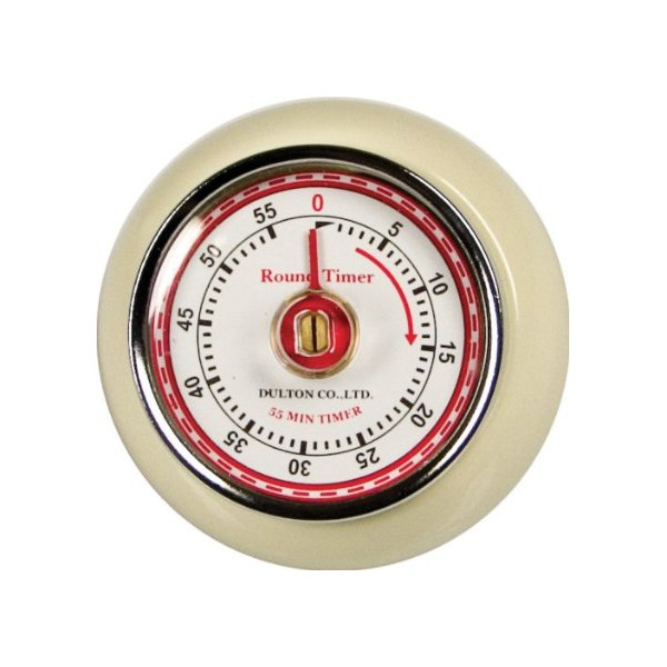 Fox Run Retro Kitchen Timer with Magnet, Ivory