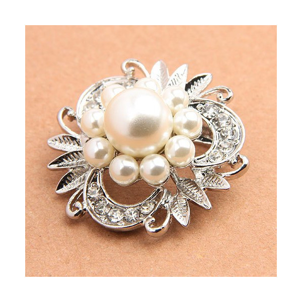 Buyinhouse New Stylish Ladies Girls Silver Plated Flashing White Rhinestones Crystals Pearls Flower Petals Leaves Brooches Pin Clips