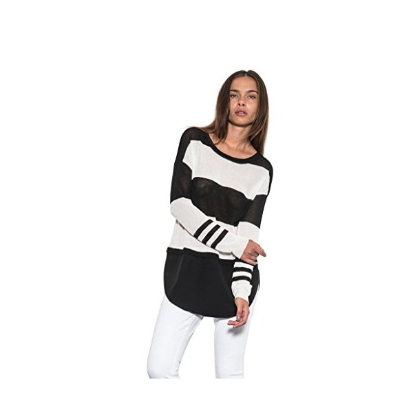 Womens Caden Long Sleeve Blouse Knit Silk Top White Black One Grey Day-S