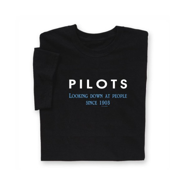 Pilots Looking Down T-shirt Black Large