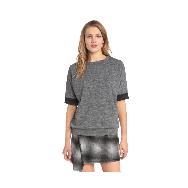 10 Crosby Derek Lam Women's Bonded Wool Jersey Oversized Sweatshirt, Grey, Petite