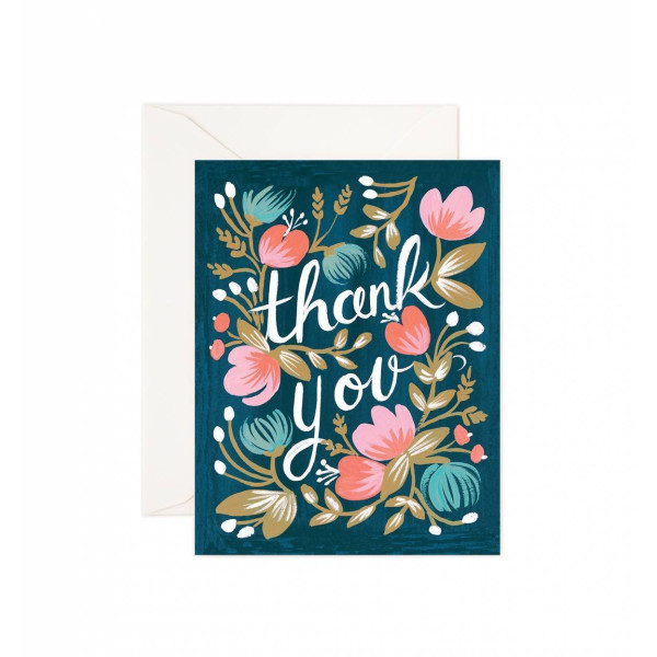 """Thank You"" Midnight Garden Notecards by Rifle Paper Co. -- Set of 8 Cards and Envelopes"