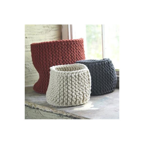 Hand Knit Rope Basket - Charcoal