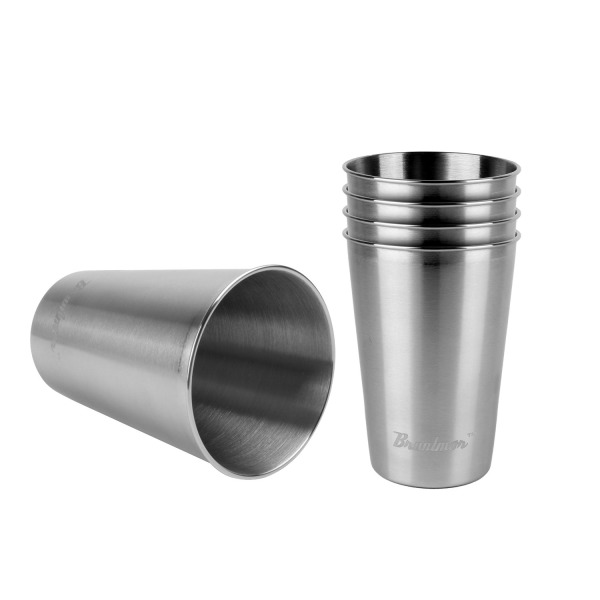 Bruntmor, 16oz 18/8 Stainless Steel Stackable Drinking Pint Cups, Set of 5