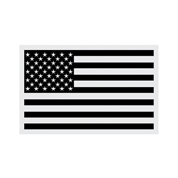 "6"" Black Subdued American Flag Reflective Decal Sticker"