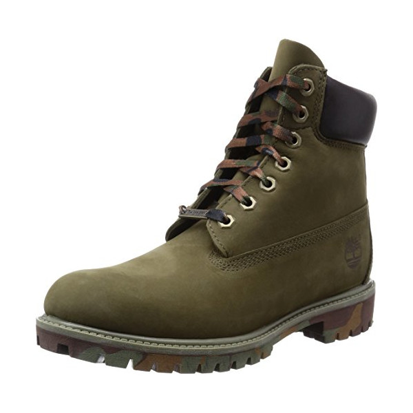 Timberland Men's Icon 6 Inch Premium  Boot, Olive Nubuck/Camo Outsole, 11.5 M US