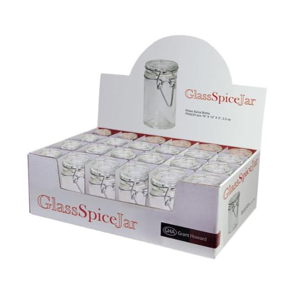 Grant Howard 50520 3.06-Ounce Cylindrical Clear Glass Spice Jar, Set of 24, Small
