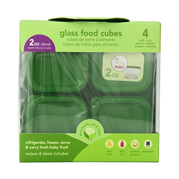 Green Sprouts 4 Pack Glass Baby Food Storage Cubes, 2 Ounce, Green