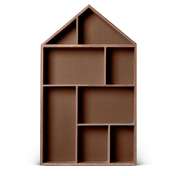 Bloomingville Display Box House Shaped, Mahogany Stain