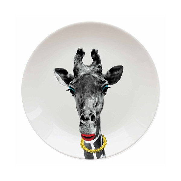 Mustard M12006D Wild Dining Ceramic Dinner Plate, Giraffe, Multicolored