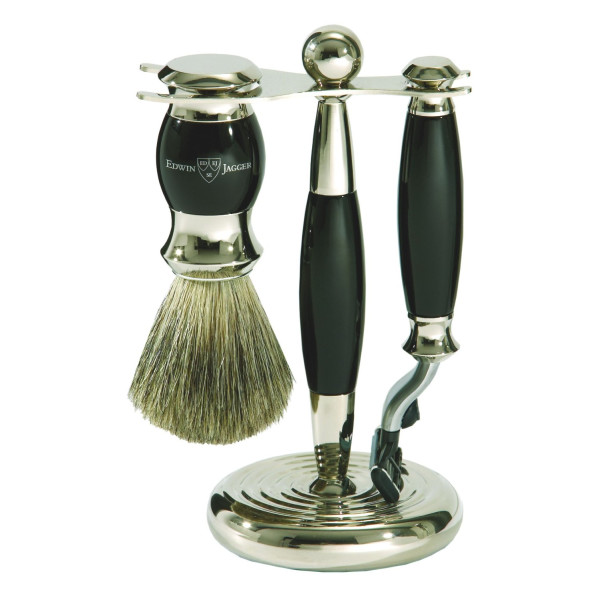 Edwin Jagger Shaving Gift Set - Pure Badger Shaving Brush, Gillette Mach 3 Razor & Stand, Imitation Ebony