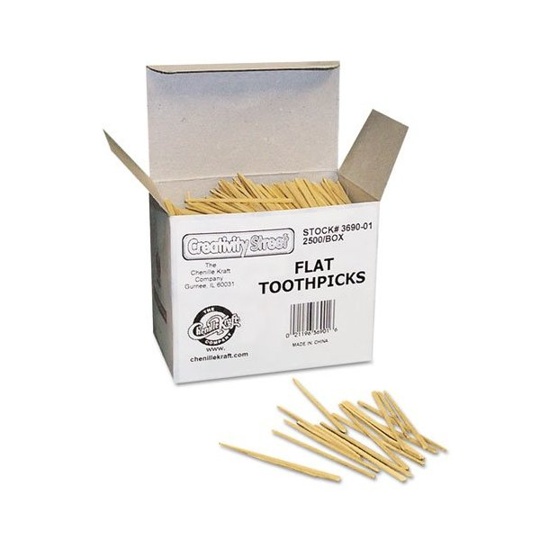 Chenille Kraft 369001 Flat Wood Toothpicks, Wood, Natural, 2500/Pack (CKC369001)