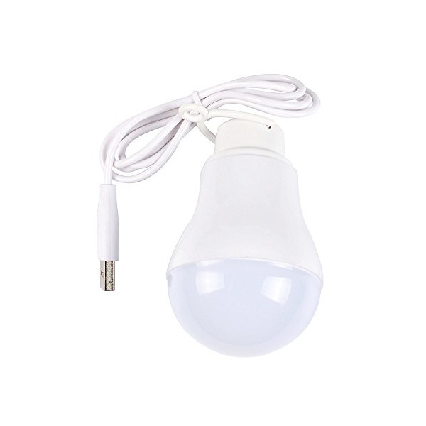 """Parrot Uncle Camping Tent USB Light Bulb Power Bank 5v 5w Emergency Led Light Bulb, 40"""" Wire, White"""