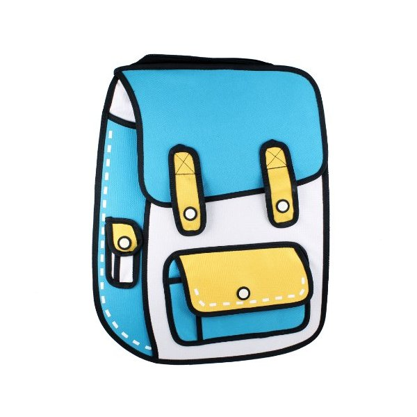 Funny 3D Cartoon Backpack Bags - Blue