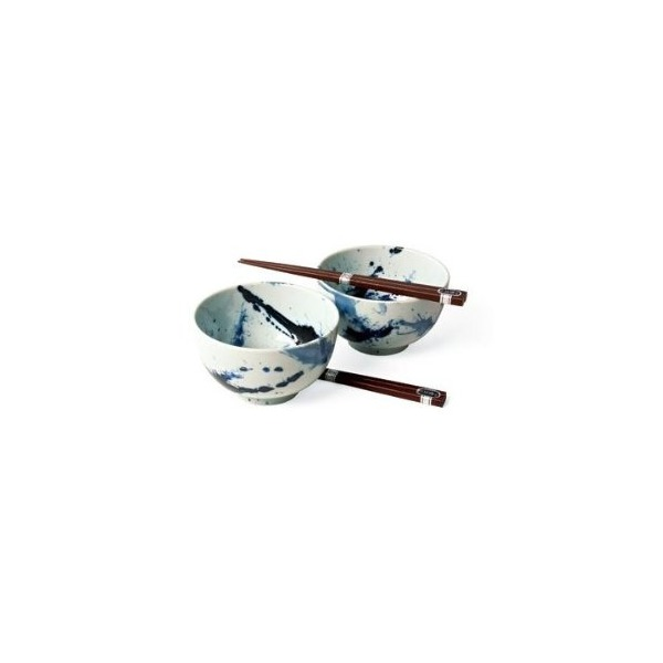 Japanese Sumi Bowls with Chopsticks Gift Set