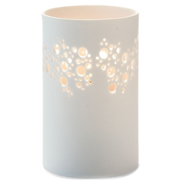 Hollowick Porcelana White Bubbles Cylinder Lamp