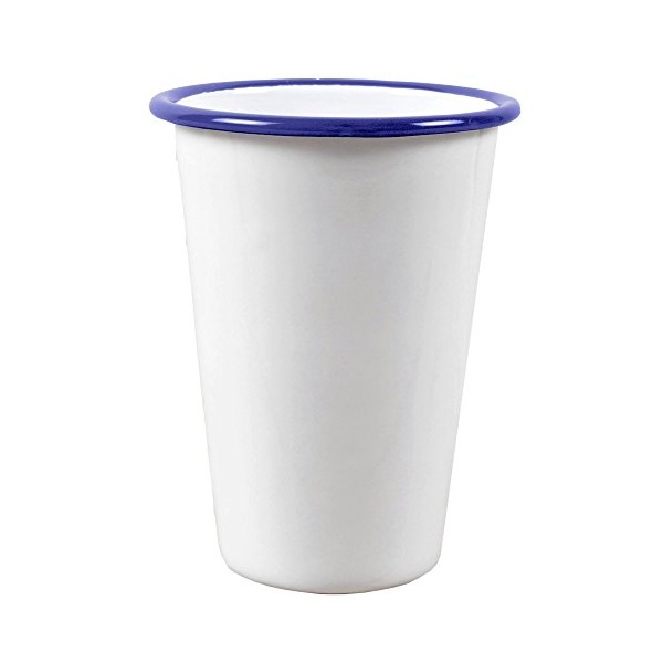 Enamelware 14 Ounce Tumbler -Solid White with Blue Rim