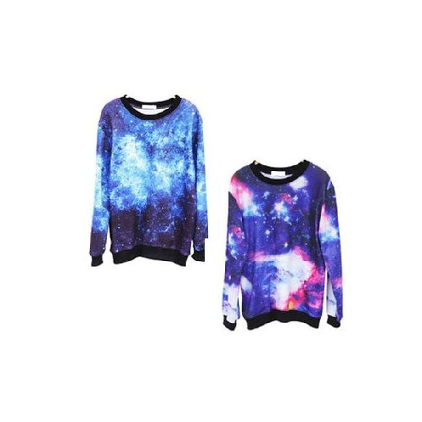 Chic Women's Galaxy Space Starry Print long Sleeve Top Round T Shirt Jumper Top Blue