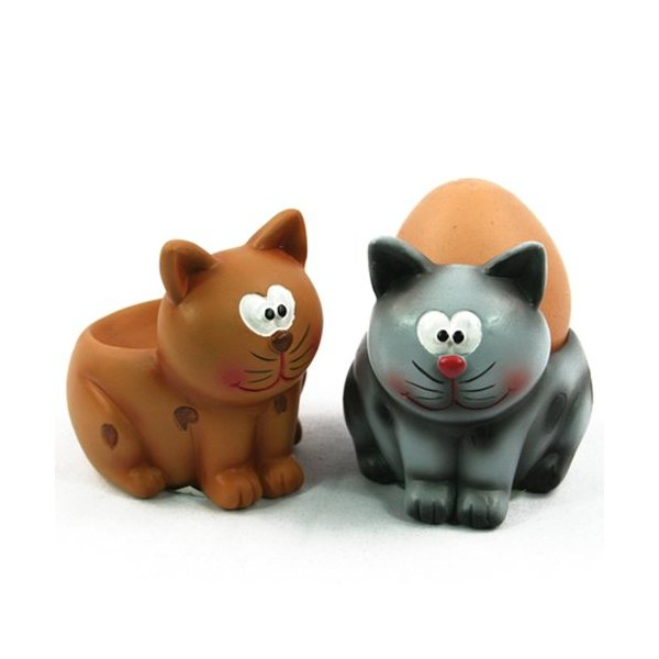 Black Ginger Egg Cup - Grey Cat