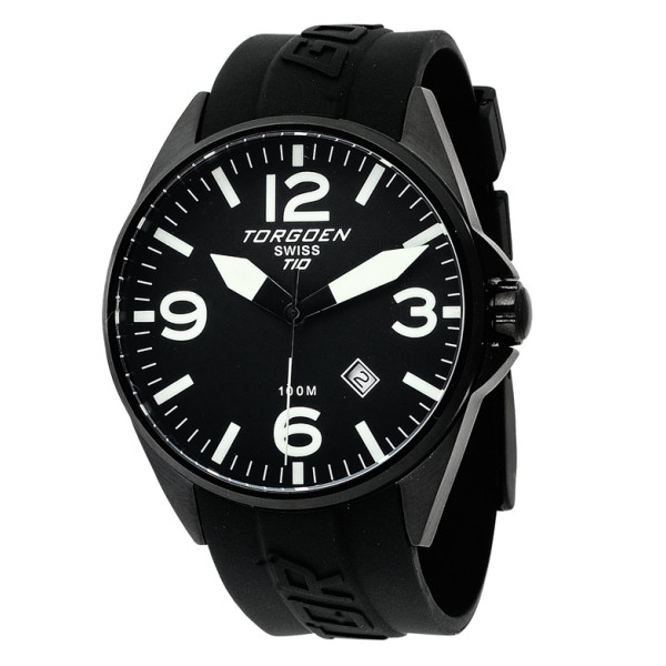 Torgoen Swiss Black Ion-Plated 3-Hand Analog Rubber Strap Watch