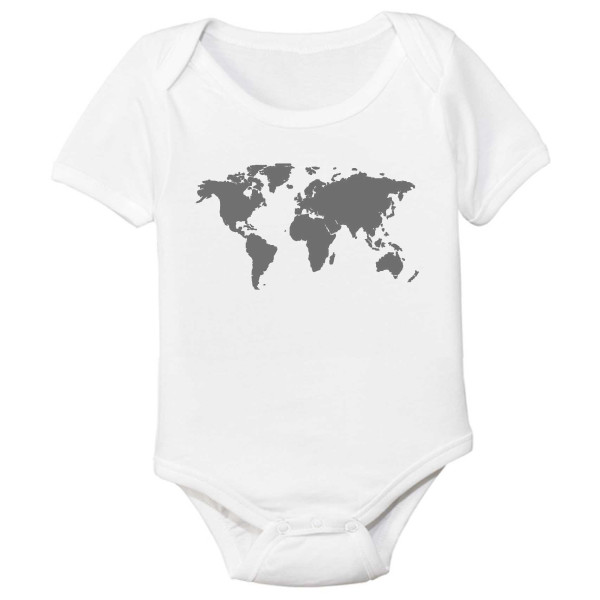 World Map Organic Cotton Baby Bodysuit