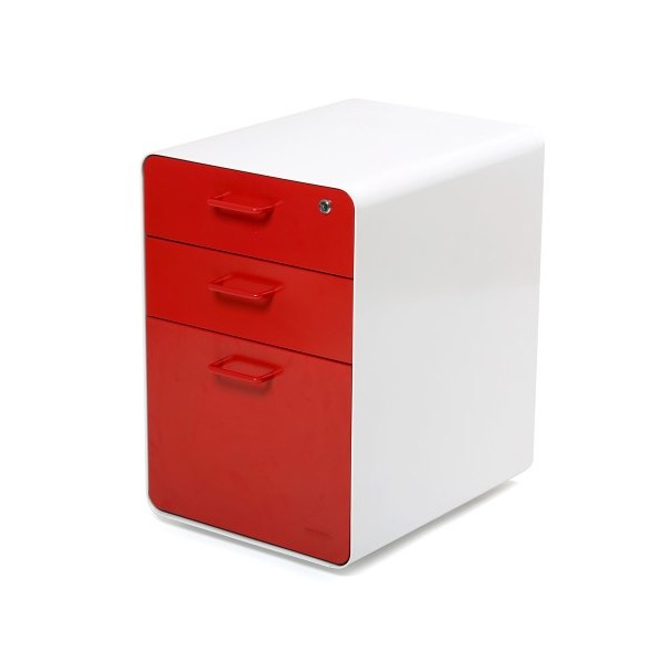 Poppin White + Red West 18th 3-Drawer File Cabinet