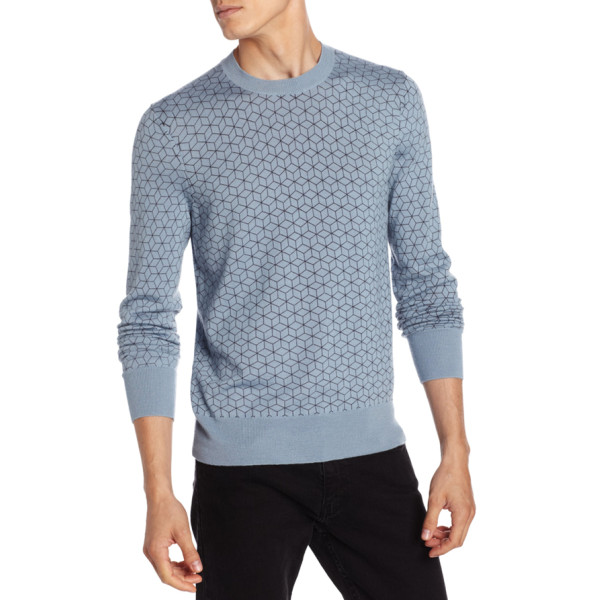 Jack Spade Geo Print Crew Neck Sweater, Dusty Blue