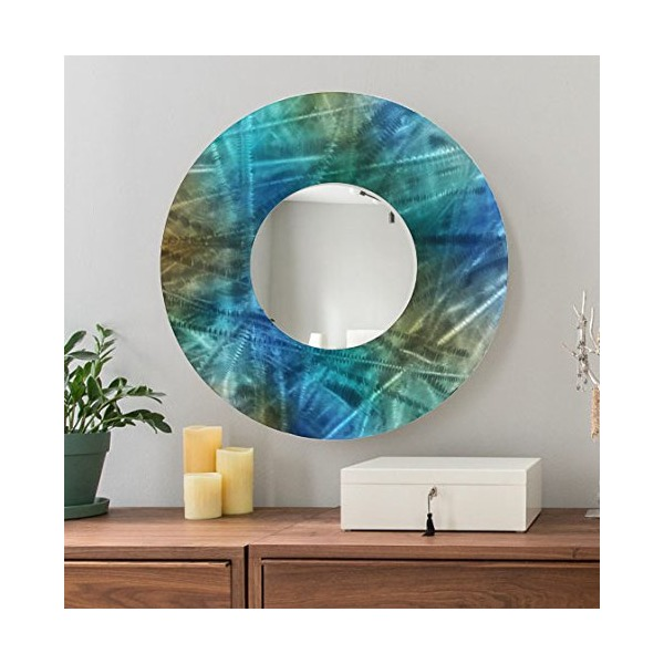 Blue, Teal & Brown Large Round Abstract Metal Mirror Modern Wall Art Home Decor Accent by Jon Allen - Mirror 103