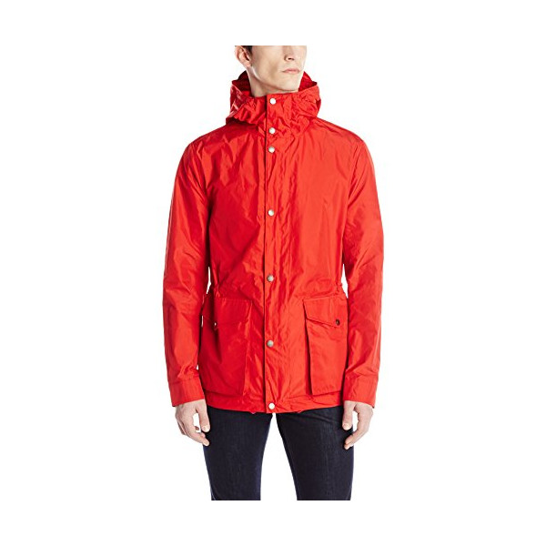 Ben Sherman Men's Hooded Zip Through Cotton Coat, Dawn Red, Medium