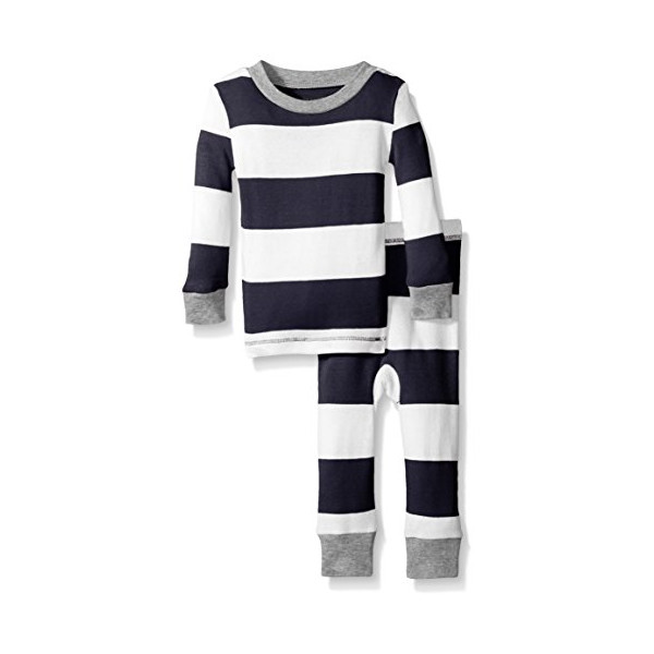 Burt's Bees Baby Baby Organic Rugby Stripe 2pc Pajama, Midnight, 6-9 Months