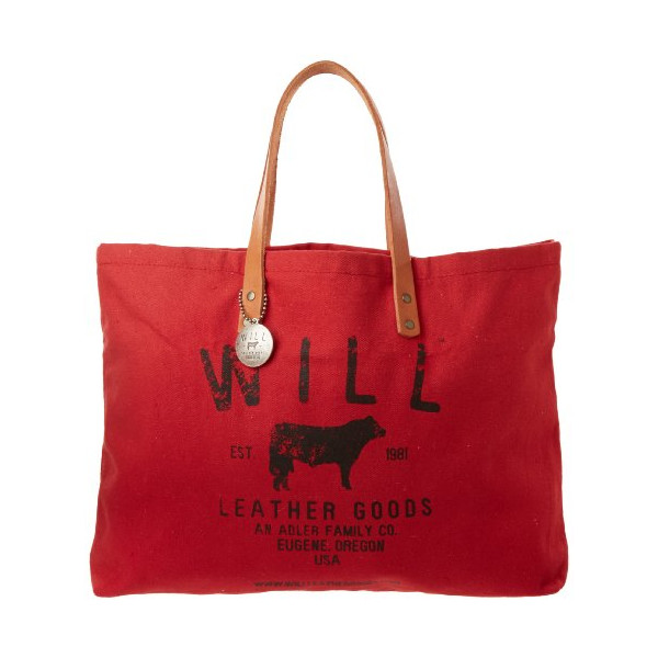 Will Leather Small Classic Carry All 31057 Tote, Red