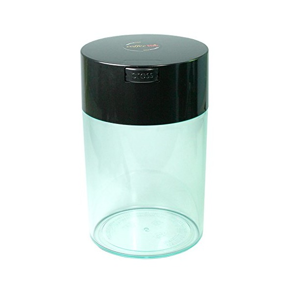 Coffeevac 1 lb - The Ultimate Vacuum Sealed Coffee Container, Black Cap & Clear Body