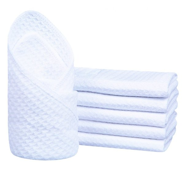 Sinland Microfiber Waffle Weave Washcloths Facial Cloths Dish Cloths Dishcloths 6 Pack 12Inchx12Inch White