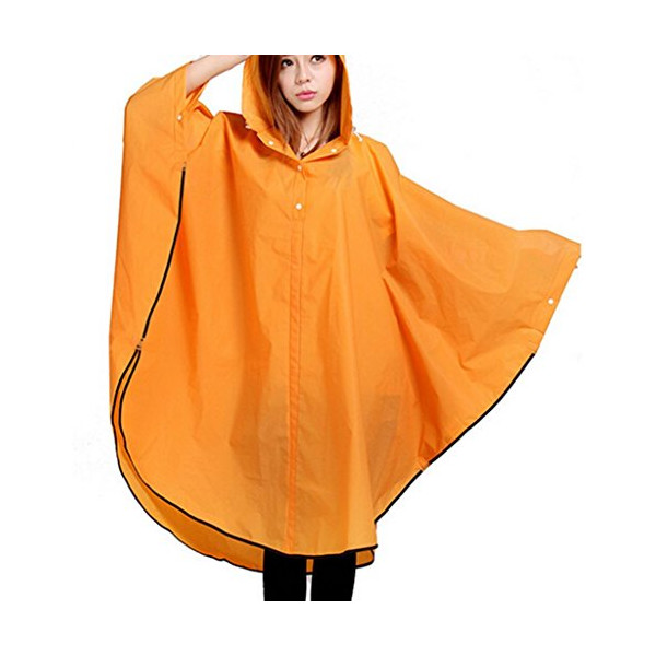 WantDo Women Waterproof Ripstop Hooded Rain Poncho(Orange)150*150  	X-Small