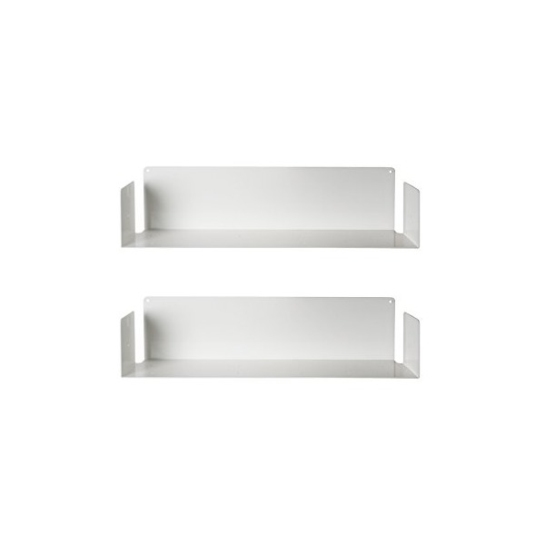 "Floating shelf ""U"" by TEEbooks - Set of 2 - 23,6"" x 5,9"" x 5,9"" - White"