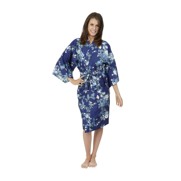 Beautiful Robes Women's Peony & Blossom Cotton Kimono Green Short