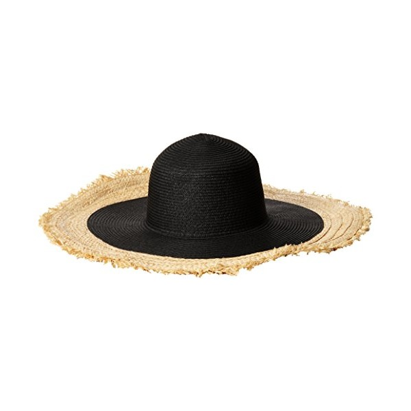 BCBGMAXAZRIA Women's Textural Frayed Floppy Hat, Black, One Size