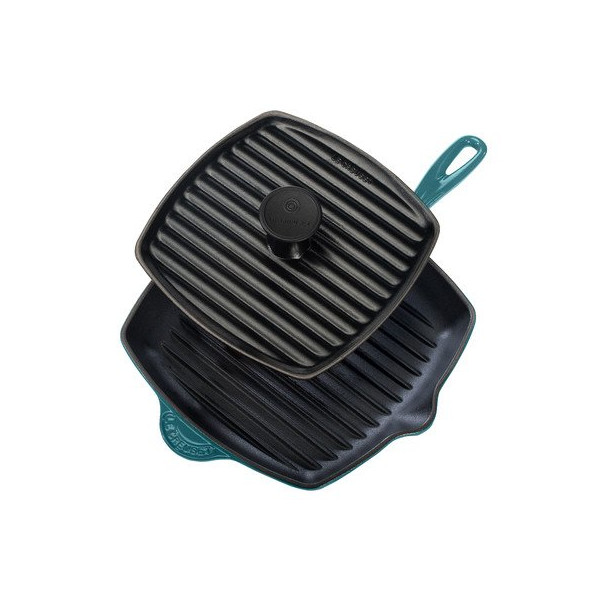 Le Creuset Enameled Cast-Iron Panini Press Skillet Grill Set, Caribbean