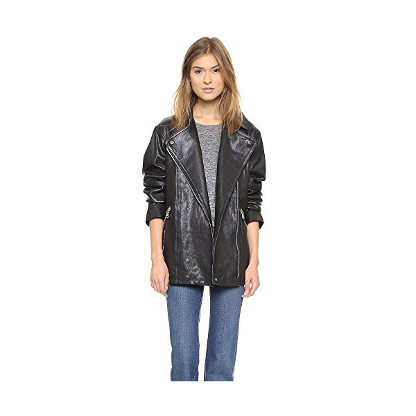 Marc by Marc Jacobs Women's Karlie Leather Coat, Black, X-Small
