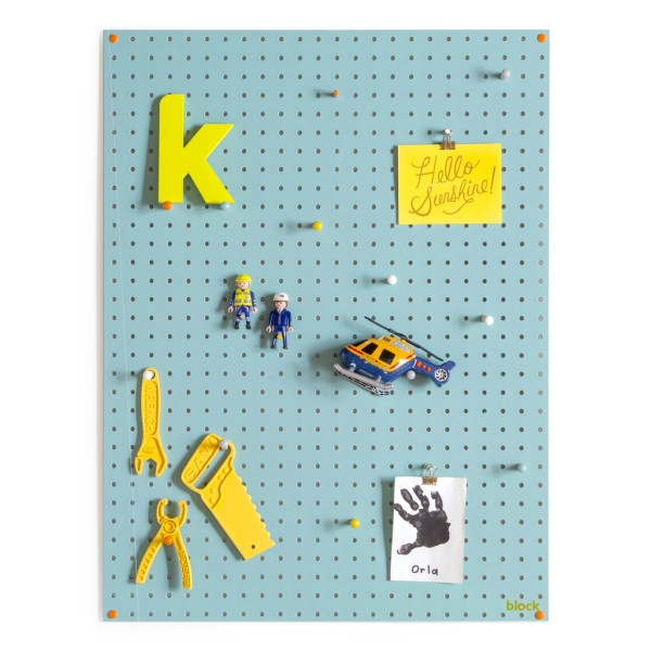 Block Pegboard with Wooden Pegs, Large, Light Blue