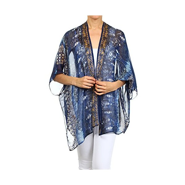Modern Kiwi Aria Printed Kimono Chiffon Cardigan Blue One Size