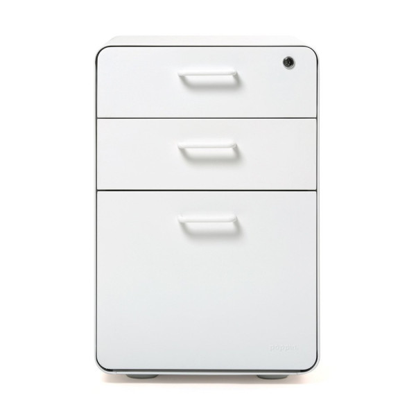 "Poppin Locking Metal File Cabinet, 3-drawer, 24"" Tall"