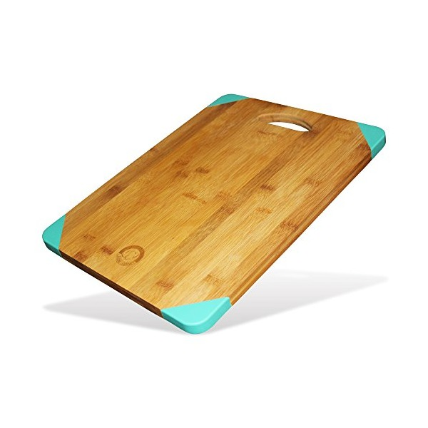Leading Gourmet Non-Slip Bamboo Wood Cutting Board - Organic Eco-Friendly Wooden Kitchen Chopping Tray and Cheese Plate or Gift, 15.6x11.5x0.7 Inch, Teal Silicone Corner Feet