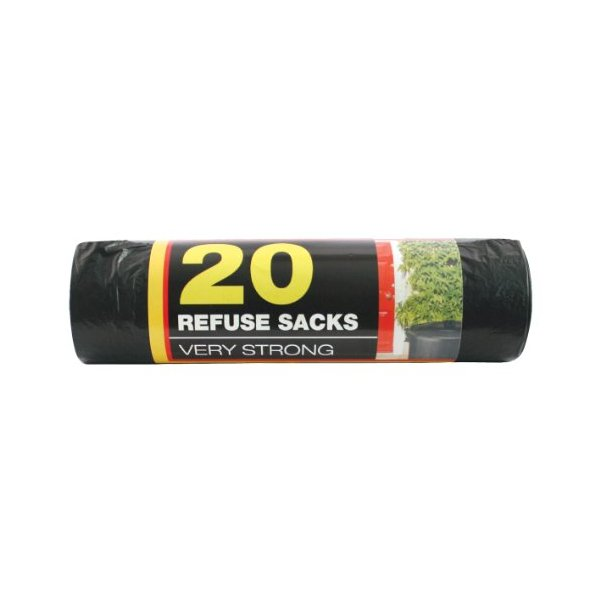 Benross Very Strong Black Bin Bags, Pack of 20