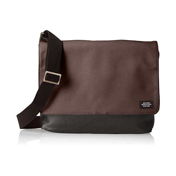 Jack Spade Men's Dipped Industrial Canvas Square Messenger, Charcoal/Black, One Size