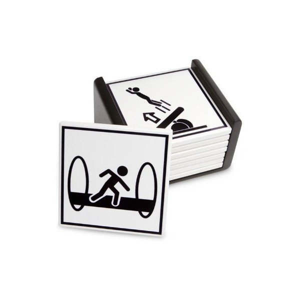 Thinkgeek Portal 2 Warning Sign Coasters